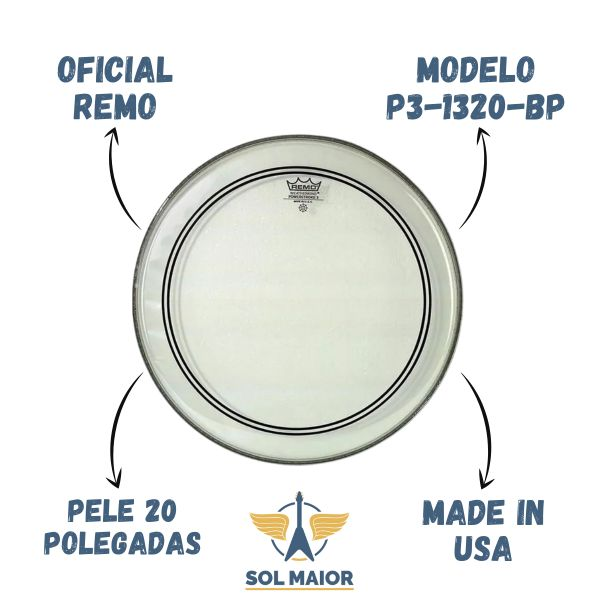 Pele Bumbo 20 Remo PowerStroke 3 Clear P3-1320-BP