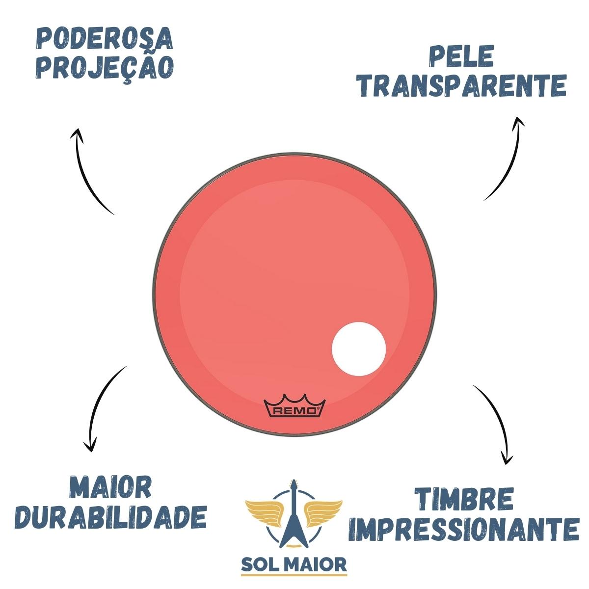 """Pele Bumbo 26"""" Powerstroke 3 Com Furo Vermelho P3-1326-CT-RD"""