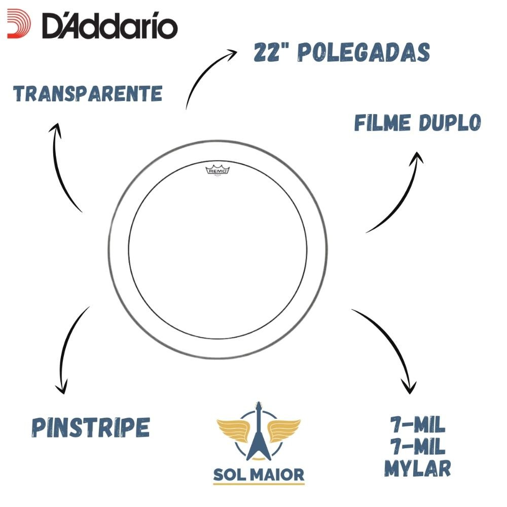 Pele P/ Bumbo 22 Pol Pinstripe Transparente Ps-1322-00 Remo