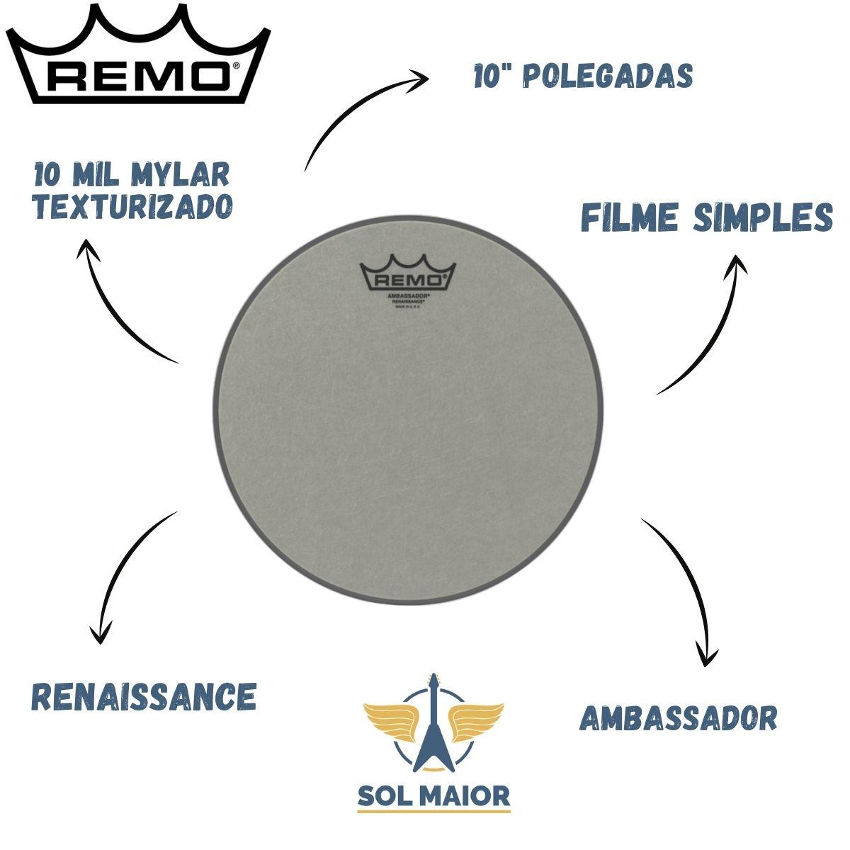 """Pele Remo 10"""" Polegadas Ambassador Renaissance RA-0010-SS"""