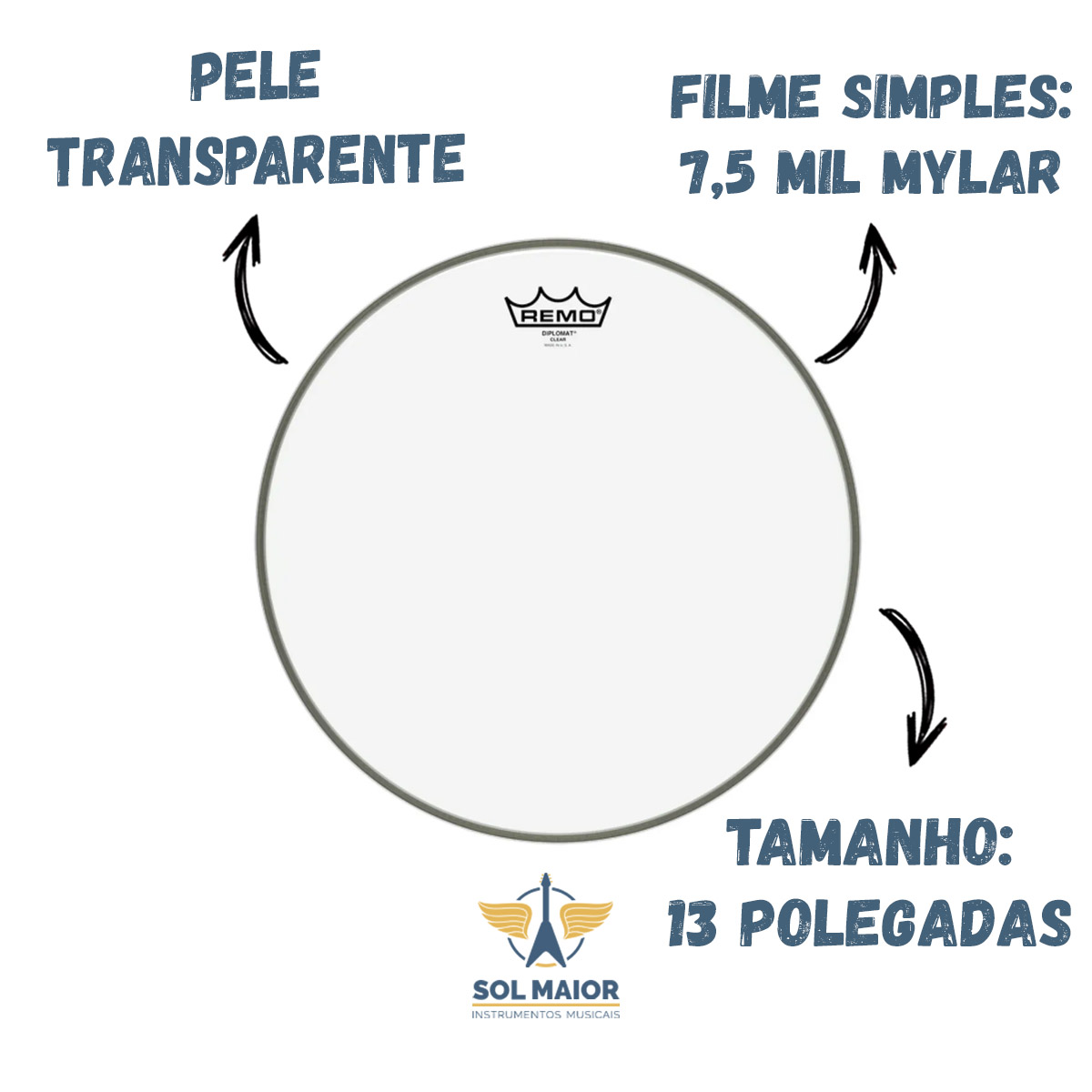 """Pele Remo 13"""" Diplomat Transparente BD-0313-00"""