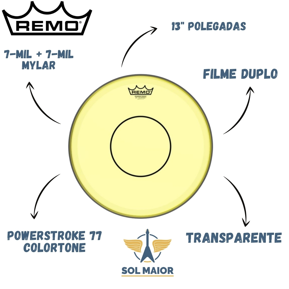 "Pele Remo 13"" Powerstroke 77 Colortone Amarela P7-0313-CT-YE"