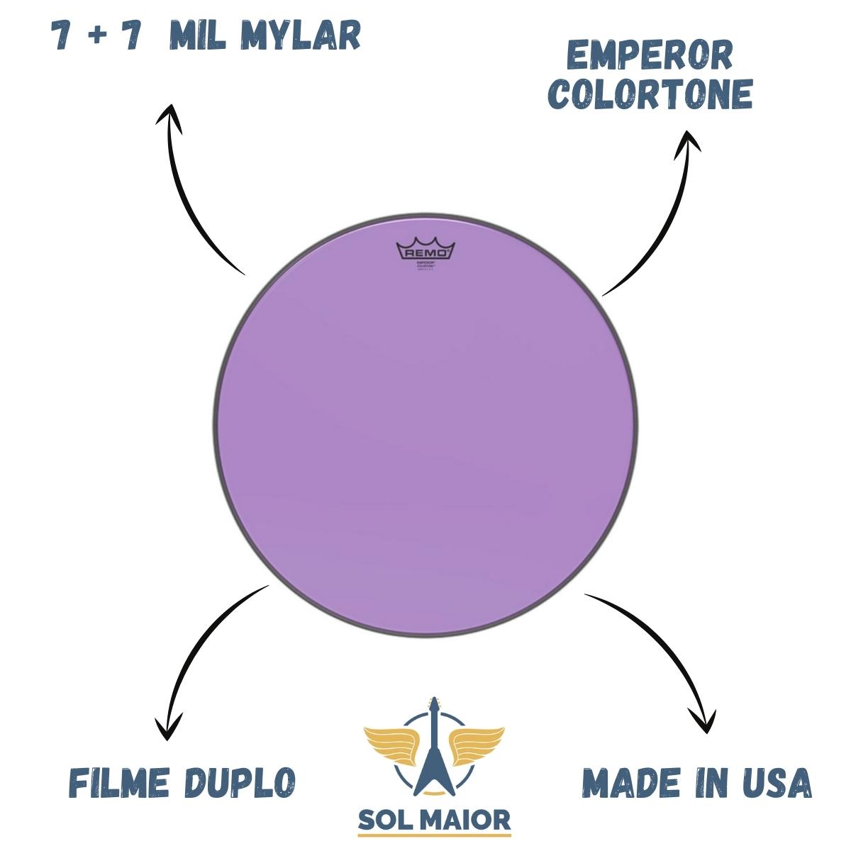 Pele Remo 18 Polegadas Emperor Colortone Roxa BE-0318-CT-PU