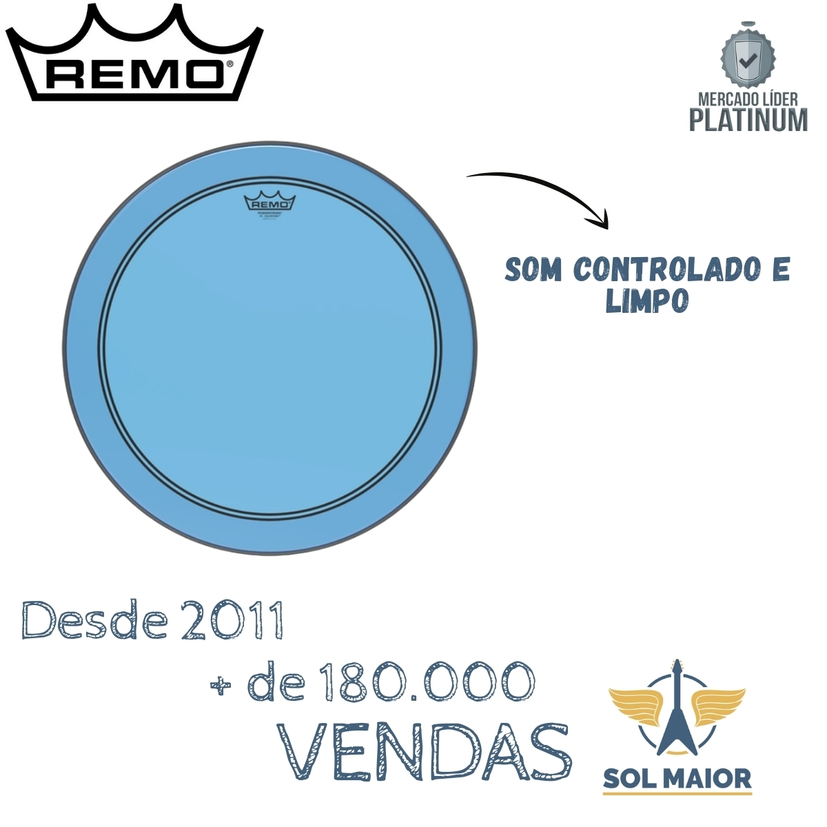 "Pele Remo 18"" Powerstroke 3 Colortone Azul P3-1318-CT-BU"