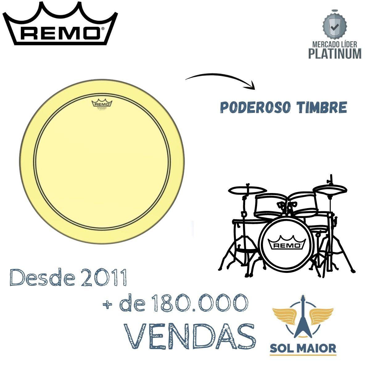 "Pele Remo 20"" Powerstroke 3 Colortone Transparente Amarela"