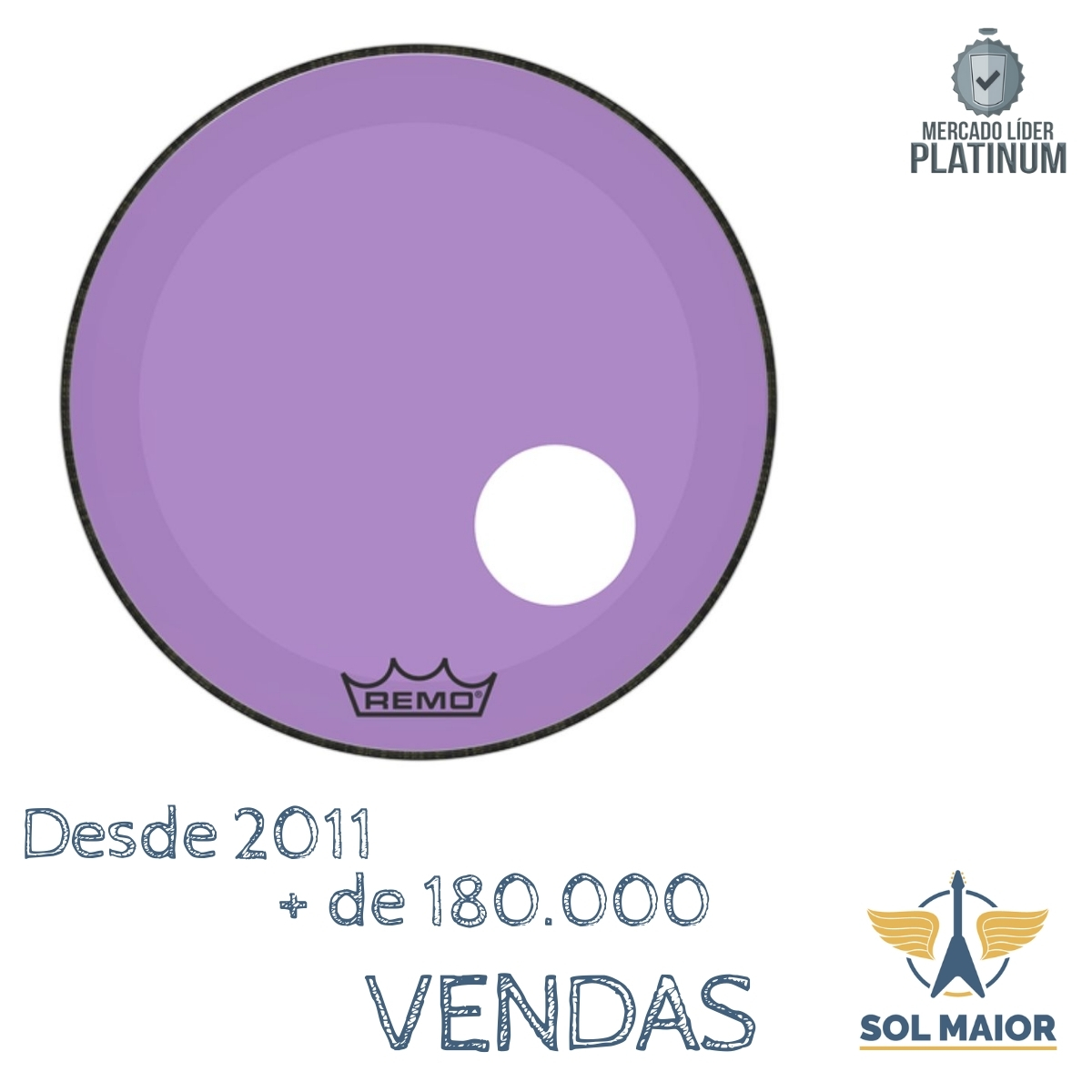 "Pele Remo 22"" Powerstroke 3 Colortone Roxa P3-1322-CT-PUOH"