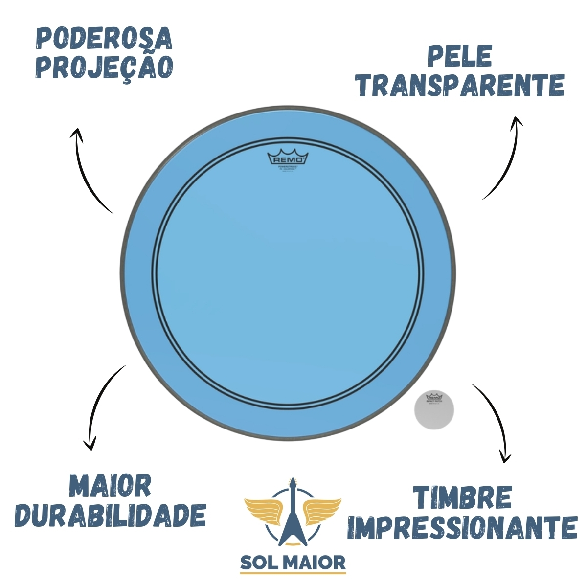 "Pele Remo 26"" Powerstroke 3 Colortone Azul P3-1326-CT-BU"