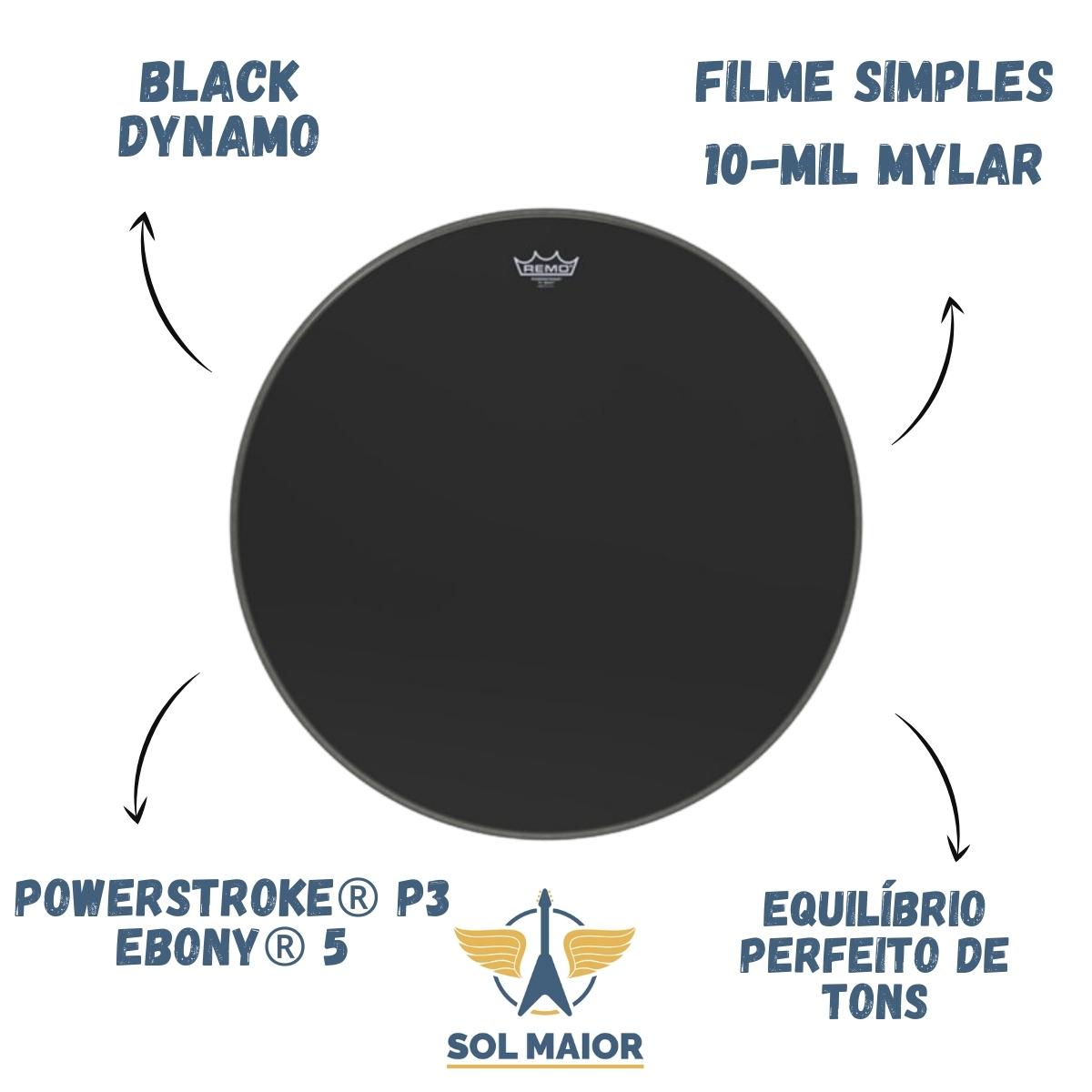 "Pele Remo 26"" Powerstroke 3 Ebony Black Dynamo P3-1026-ES"