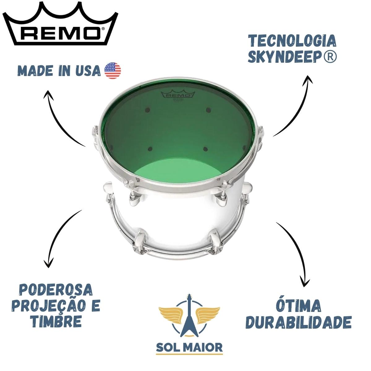 """Pele Remo 8"""" Emperor Colortone Transparente Verde BE-0308-CT"""