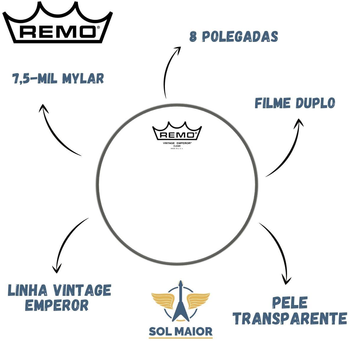 Pele Remo 8 Polegadas Vintage Emperor Transparente VE-0308-00