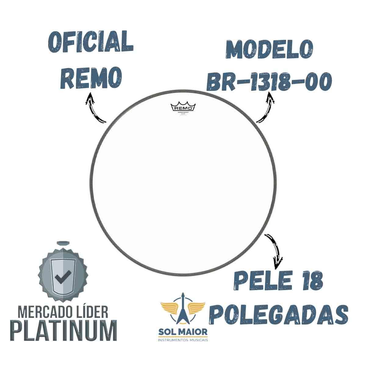 """Pele Remo Bumbo 18"""" Ambassador Transparente BR-1318-00"""