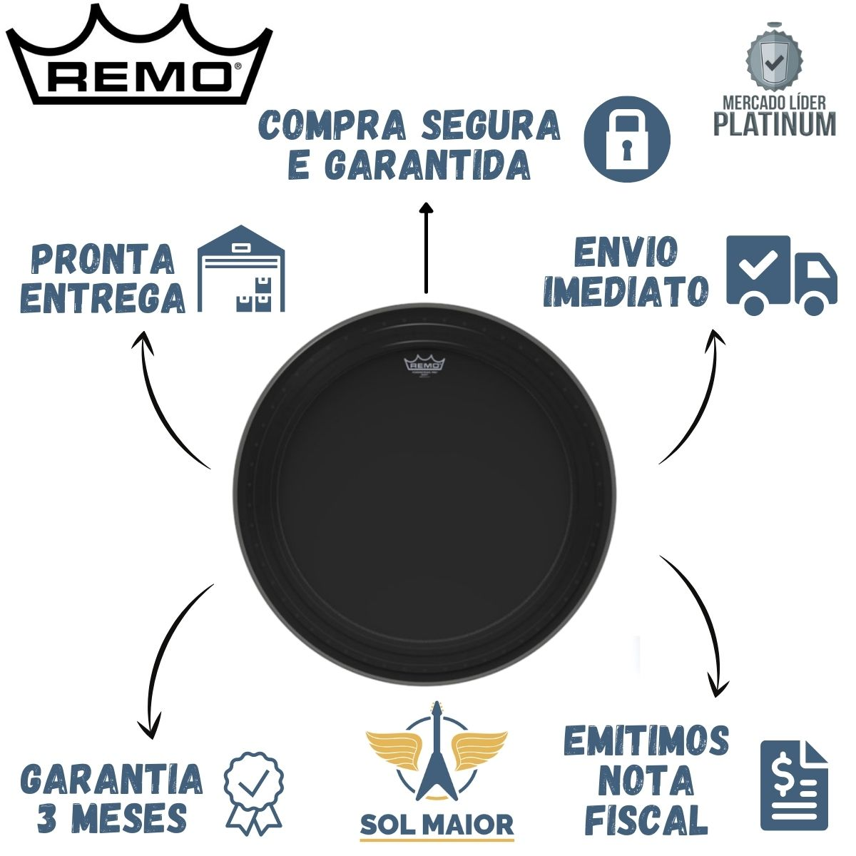 "Pele Remo Bumbo 24"" Powerstroke Pro Ebony PR-1424-00"