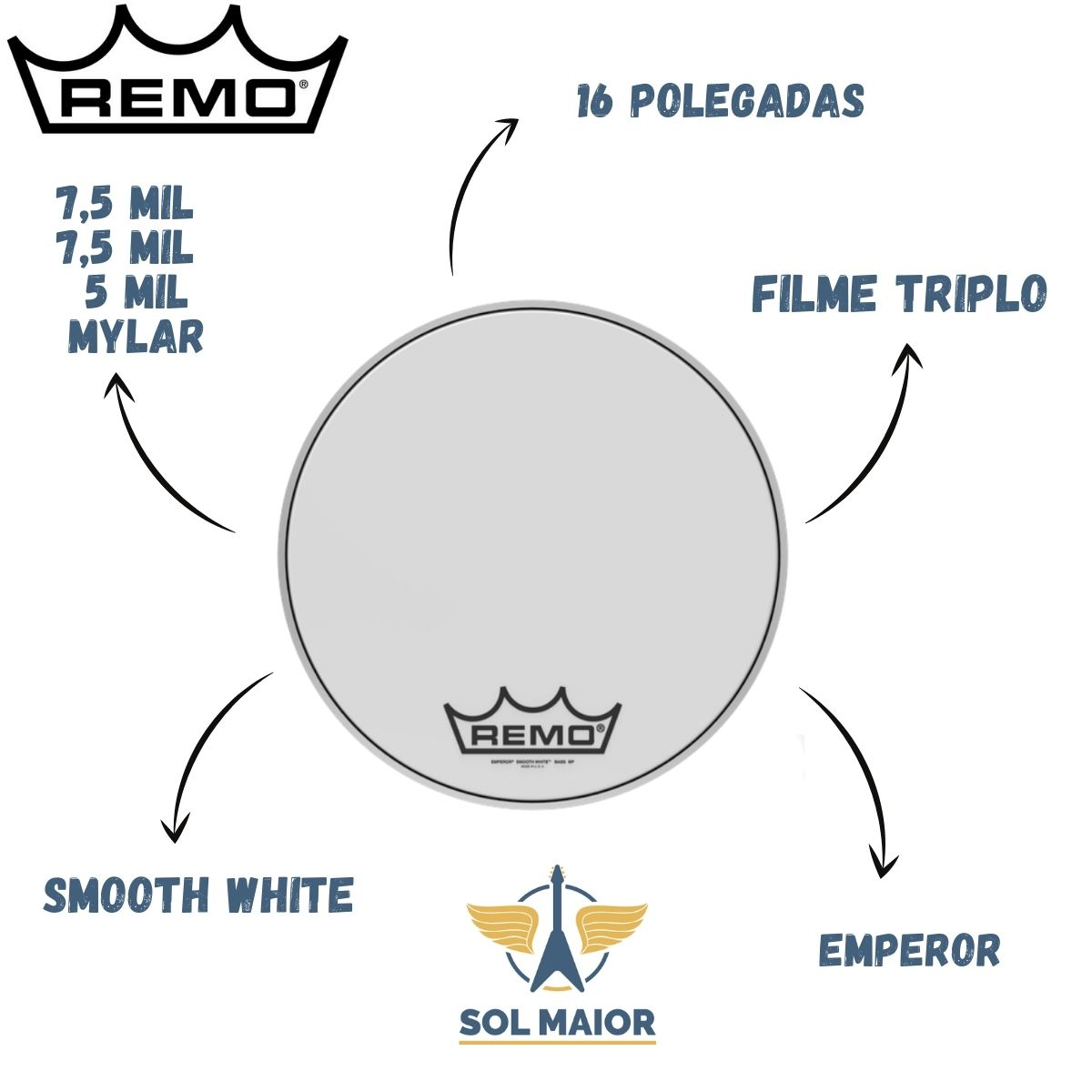 """Pele Remo Bumbo Marcial 16"""" Emperor Smooth White BB-1216-MP"""