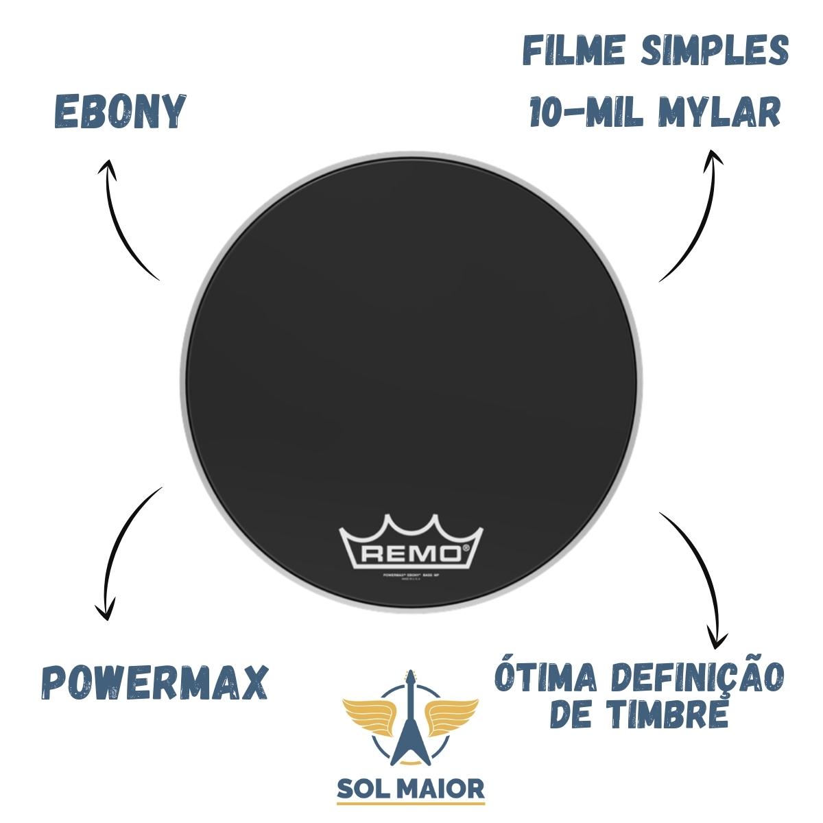 "Pele Remo Bumbo Marcial 16"" Powermax Ebony PM-1416-MP"