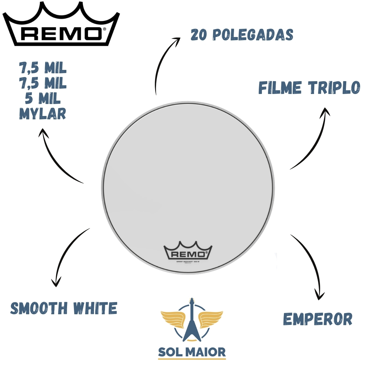 """Pele Remo Bumbo Marcial 20"""" Emperor Smooth White BB-1220-MP"""