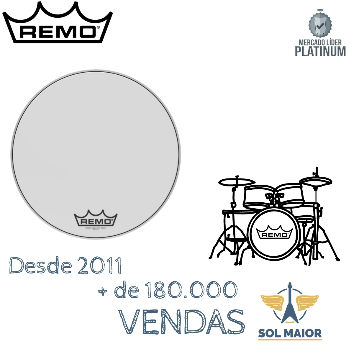 """Pele Remo Bumbo Marcial 22""""Emperor Smooth White BB-1222-MP"""