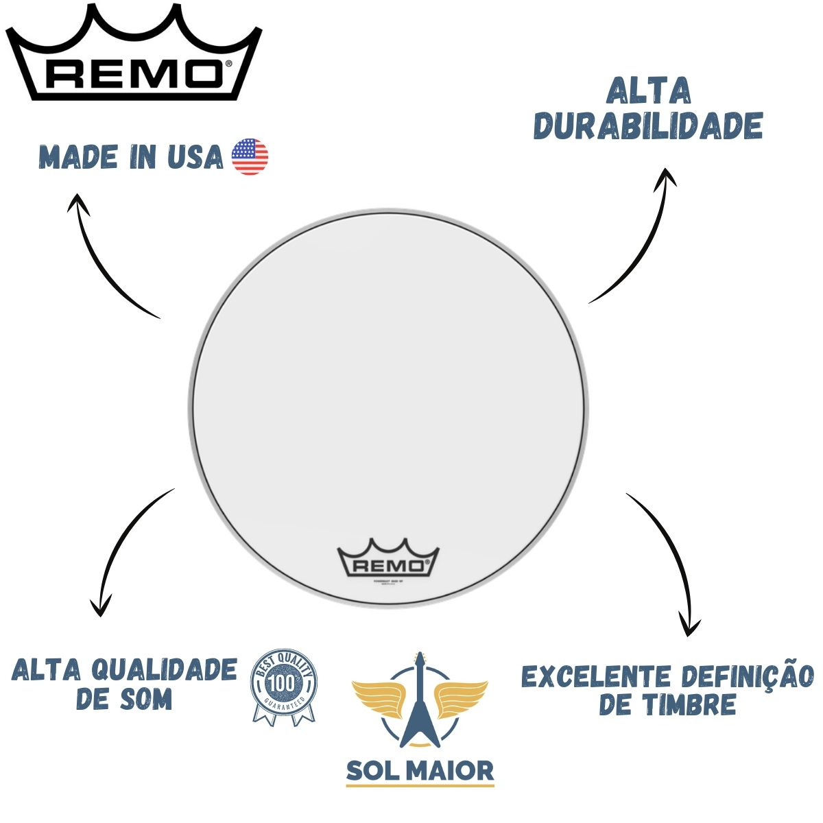 "Pele Remo Bumbo Marcial 22"" Powermax Ultra White PM-1022-MP"