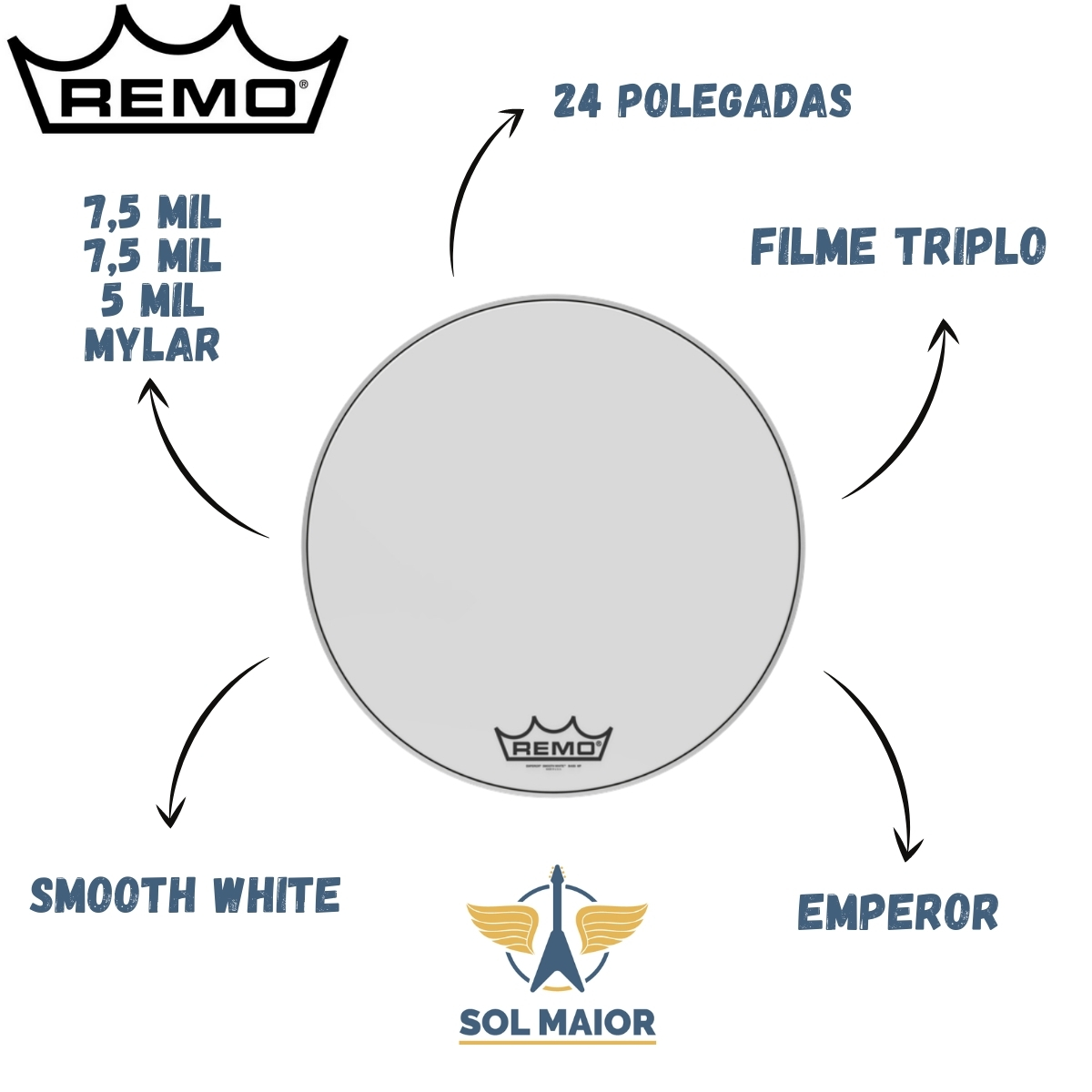 Pele Remo Bumbo Marcial 24 Emperor Smooth White BB-1224-MP