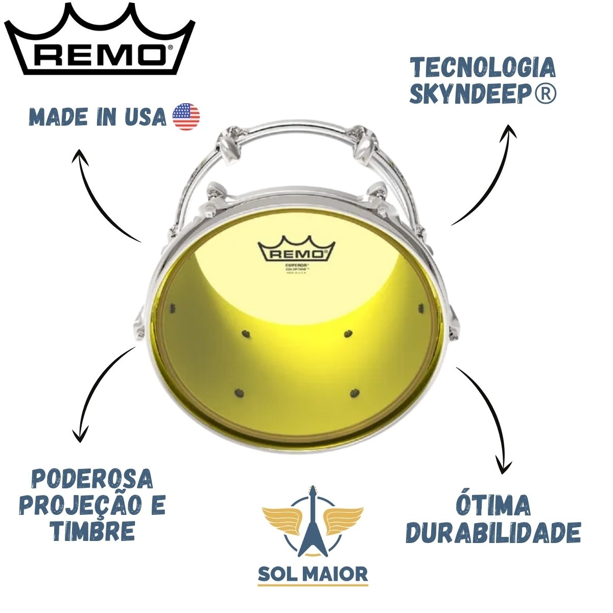 """Pele Remo de 10"""" Emperor Colortone Amarela BE-0310-CT-YE"""
