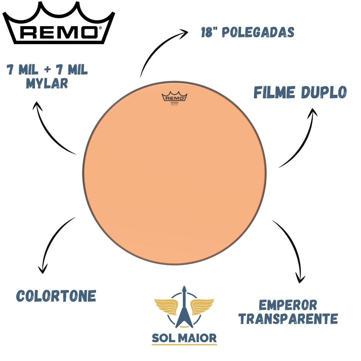 """Pele Remo de 18"""" Emperor Colortone Laranja BE-0318-CT-OG"""