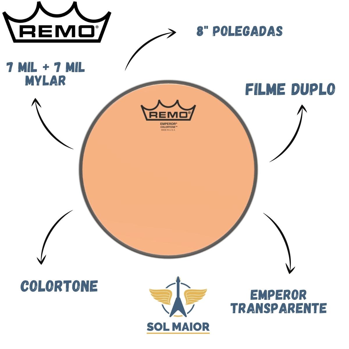 """Pele Remo de 8"""" Emperor Colortone Laranja BE-0308-CT-OG"""