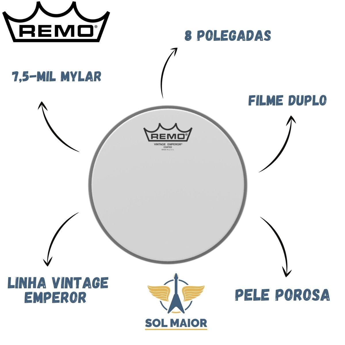 Pele Remo de 8 Polegadas Vintage Emperor Porosa VE-0108-00