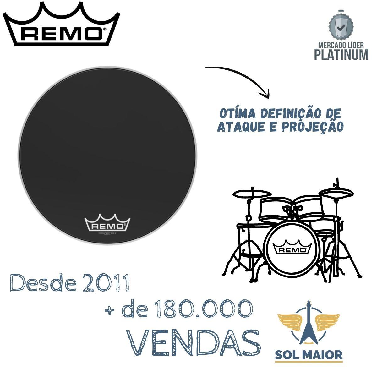 "Pele Remo de Bumbo Marcial 20"" Powermax Ebony PM-1420-MP"