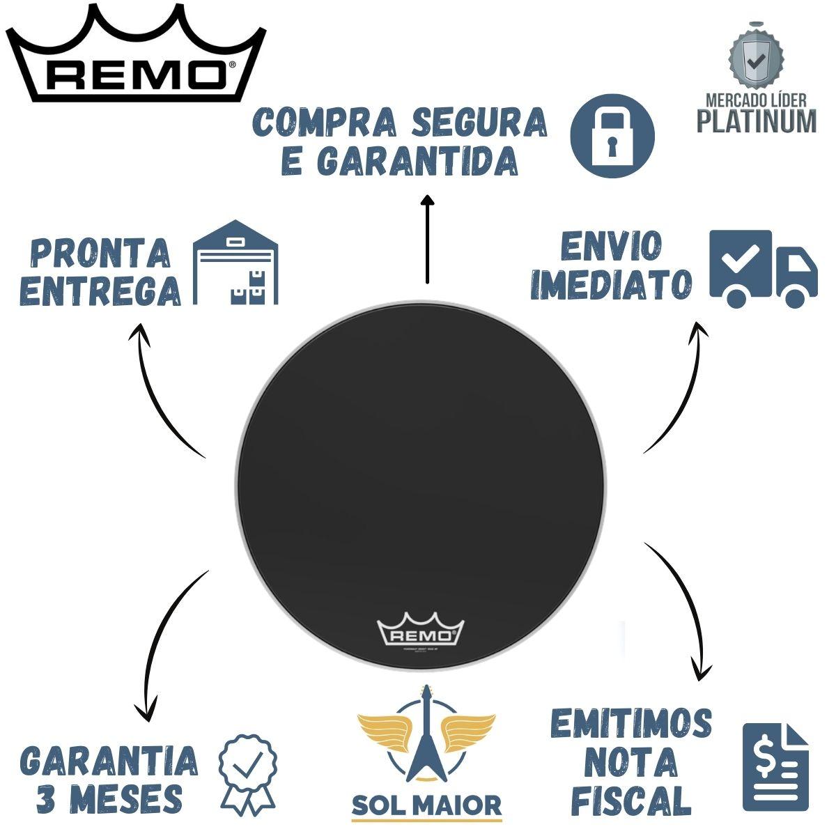 "Pele Remo de Bumbo Marcial 22"" Powermax Ebony PM-1422-MP"