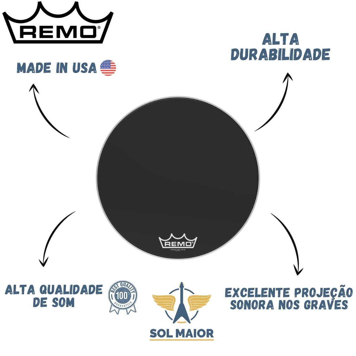 "Pele Remo de Bumbo Marcial 24"" Powermax Ebony PM-1424-MP"