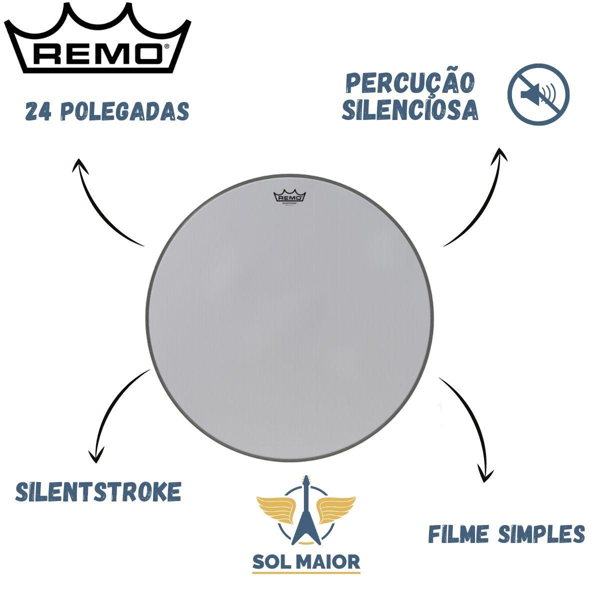 Pele Remo para Bumbo de 24 Polegadas Silentstroke SN-1024-00
