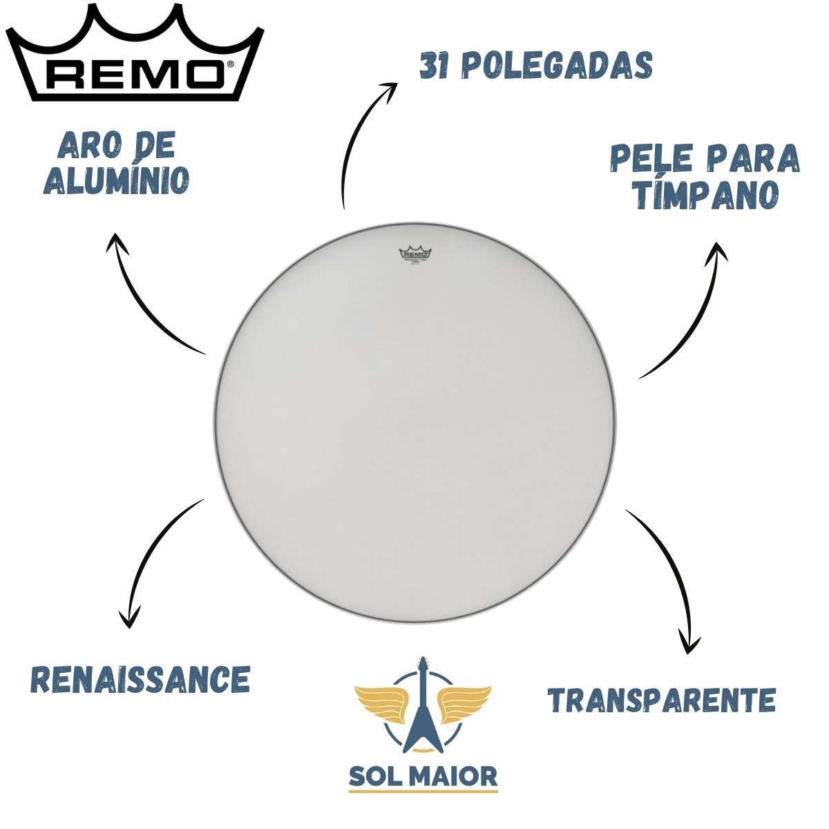 "Pele Remo Tímpano 31"" Renaissance Transparente Aro Alumínio"