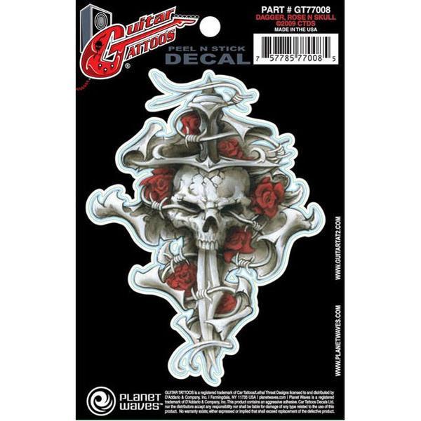 Planet Waves Guitar Tattoo Dagger Rose Skull GT77008