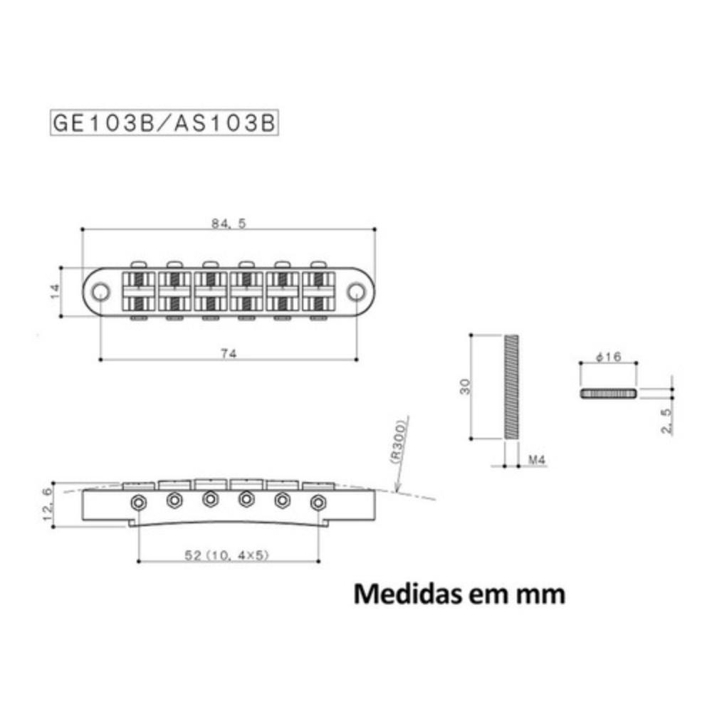 Ponte Fixa Gotoh Guitarra Les Paul Ge103b Cromada