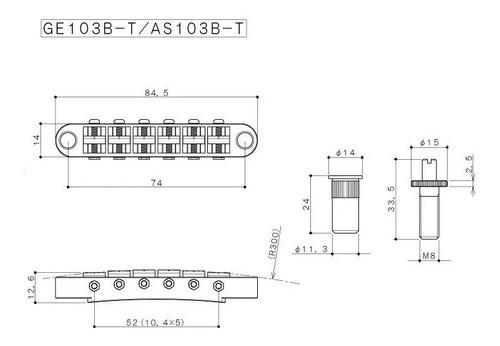 Ponte Fixa Gotoh Para guitarra Ge103b-t Cromada