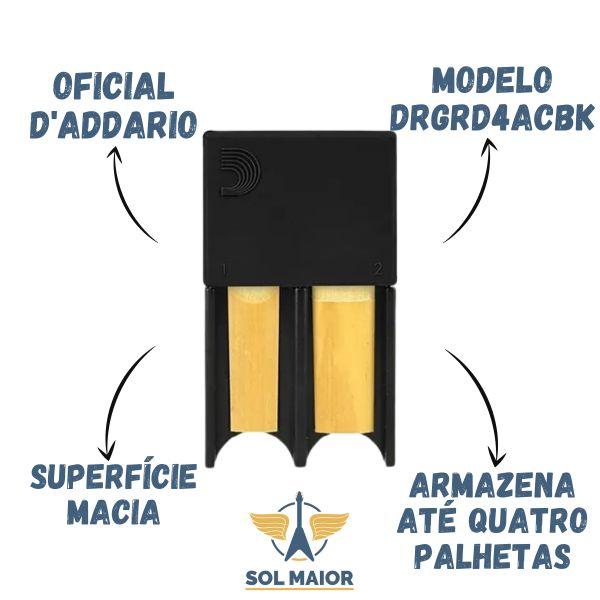 Porta Palheta D'addario Sax Alto Preto - Para 4 palhetas