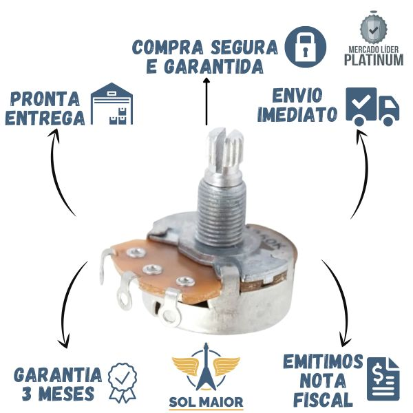 Potenciômetro Custom Sound A250K Logarítmico 24mm Diâmetro