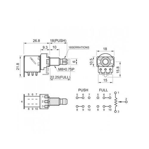 Potenciômetro Push/pull B500k-i Vlpp1 Unitário Spirit