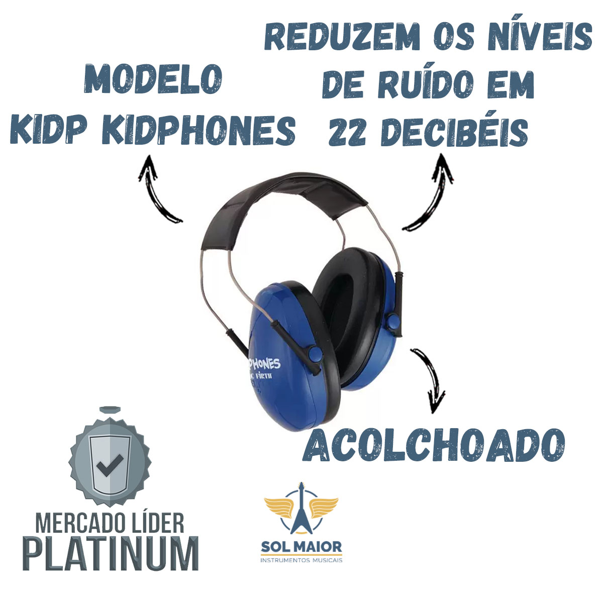 Protetor de Ouvido Redutor de Ruido Infantil KidPhones KidP