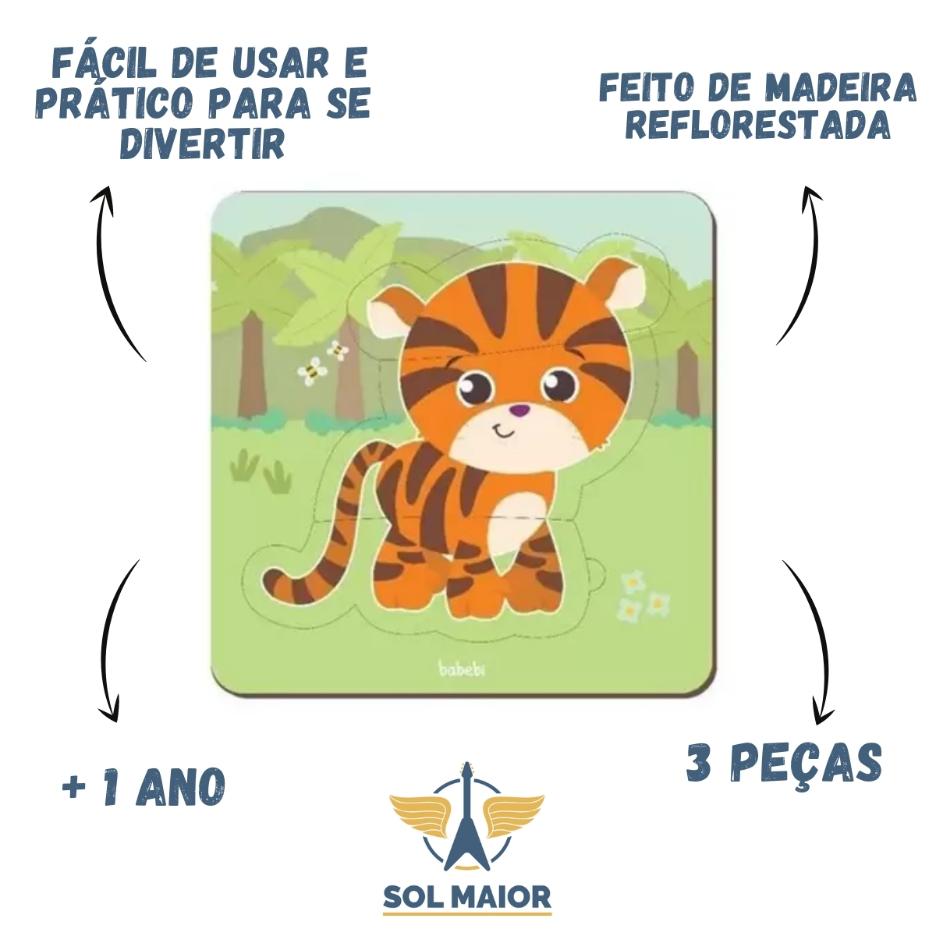 Quebra-Cabeça Baby Tigre 3 peças - Babebi 8016