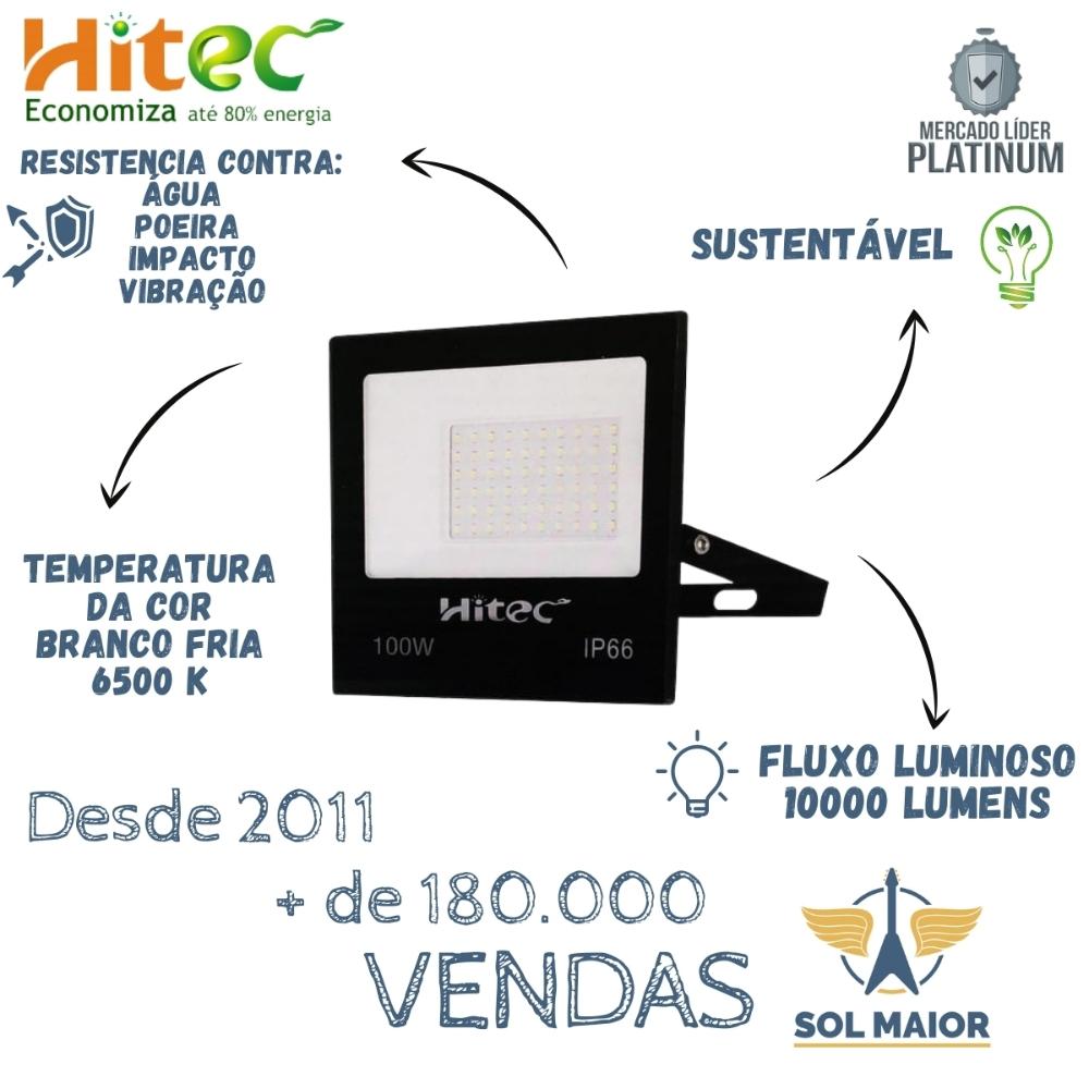 Refletor de Led 100W Branco Frio IP66 Proteção D'agua Hitec