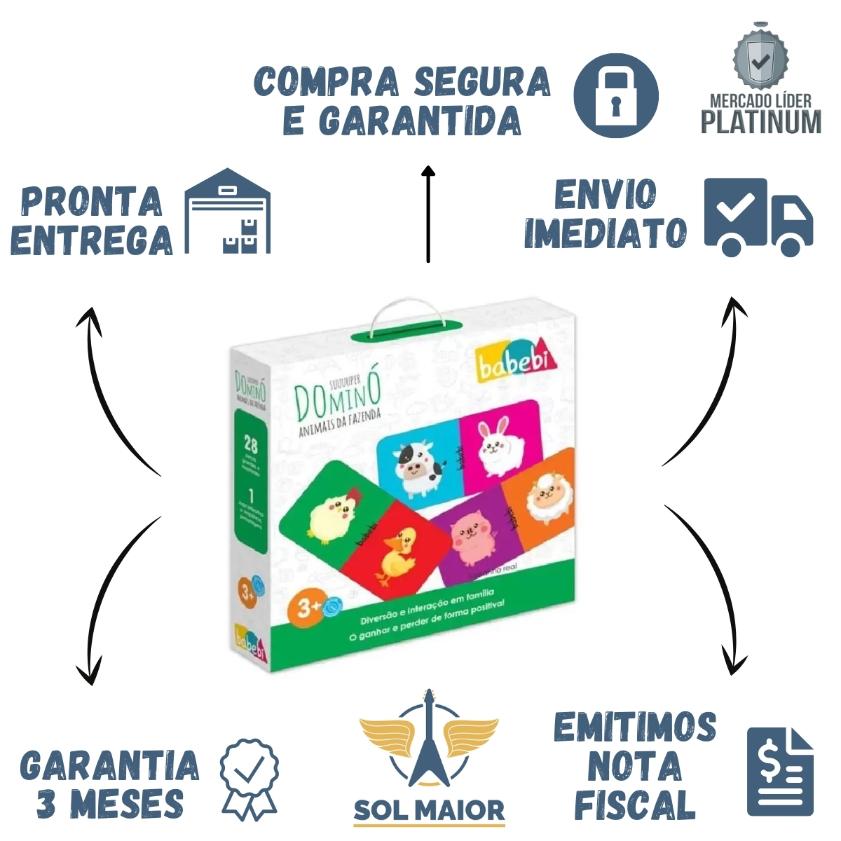 Super Domino Animais da Fazenda - Brinquedo Educativo Babebi
