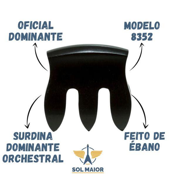 Surdina Dominante Orchestral Flat/curva Violino Ébano - 8352