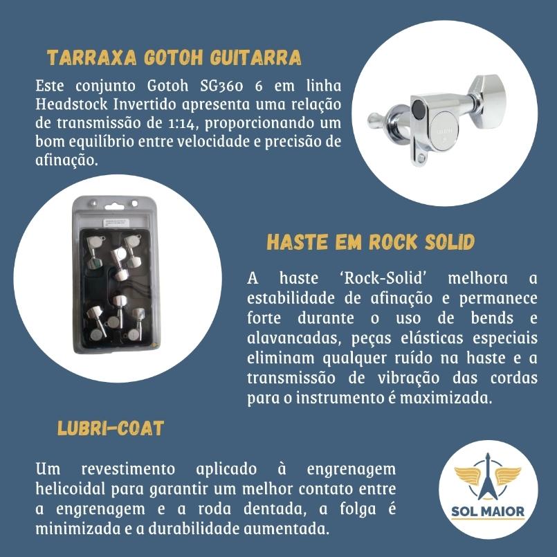 Tarraxa Gotoh Sg360-07 Cromada CNH 6 Em Linha Para Guitarra