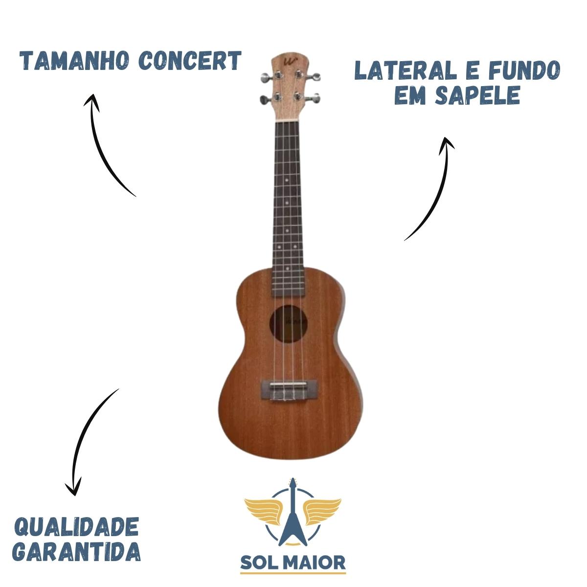 Ukulele Winner Concert 23 Sapele Laminado Natural + Cordas Aquila