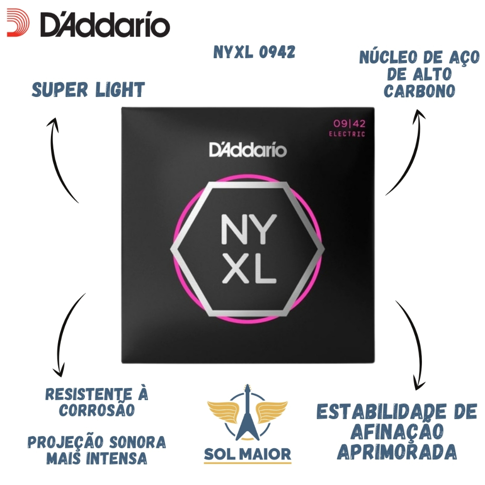 Ultra Pack Cordas Guitarra 009 - 042 Daddario EXL120 e NYXL