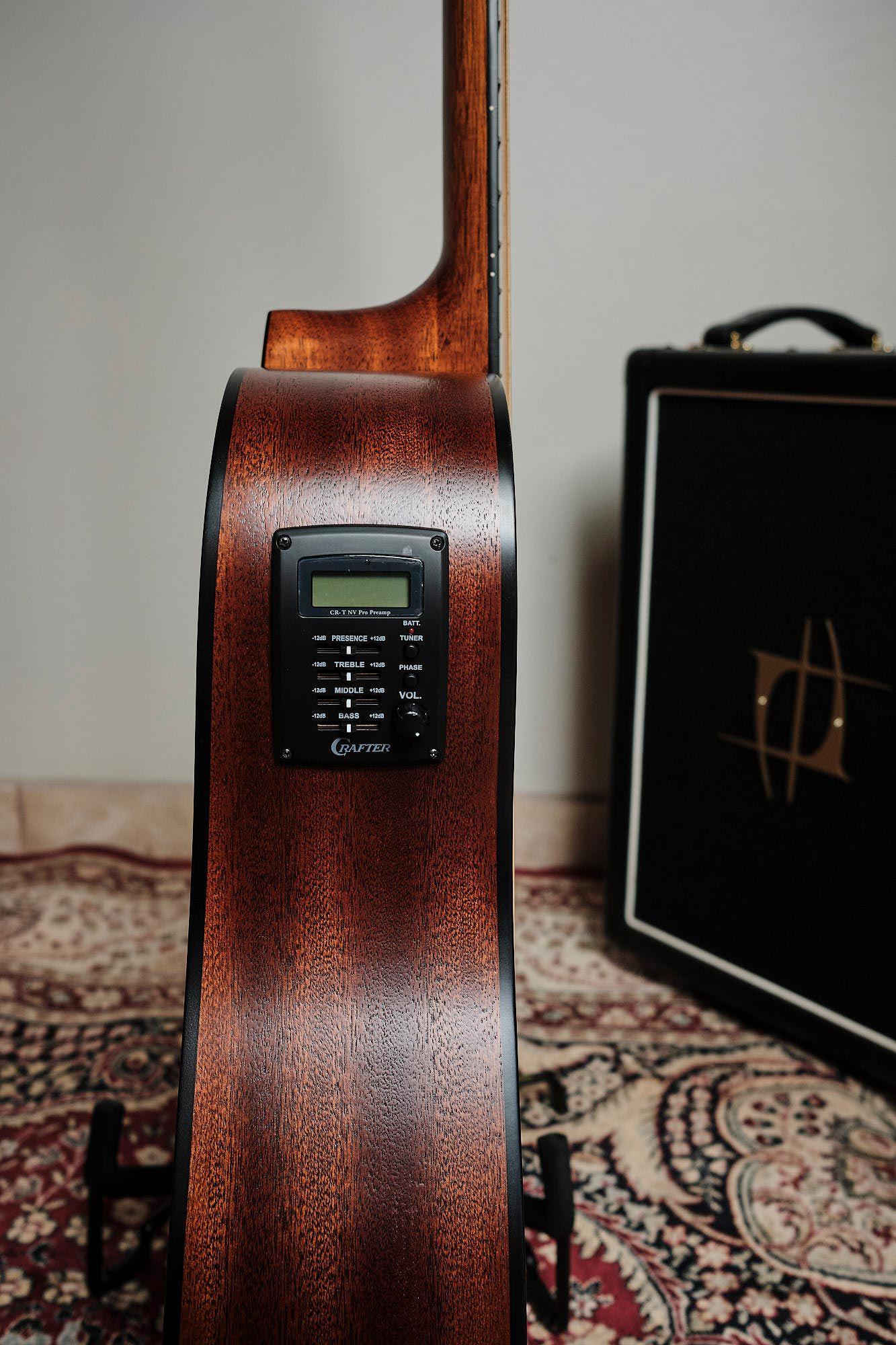 Violão Aço Crafter Folk Cutway Spruce Eq Cr-t Nv Nat Fosco HD100