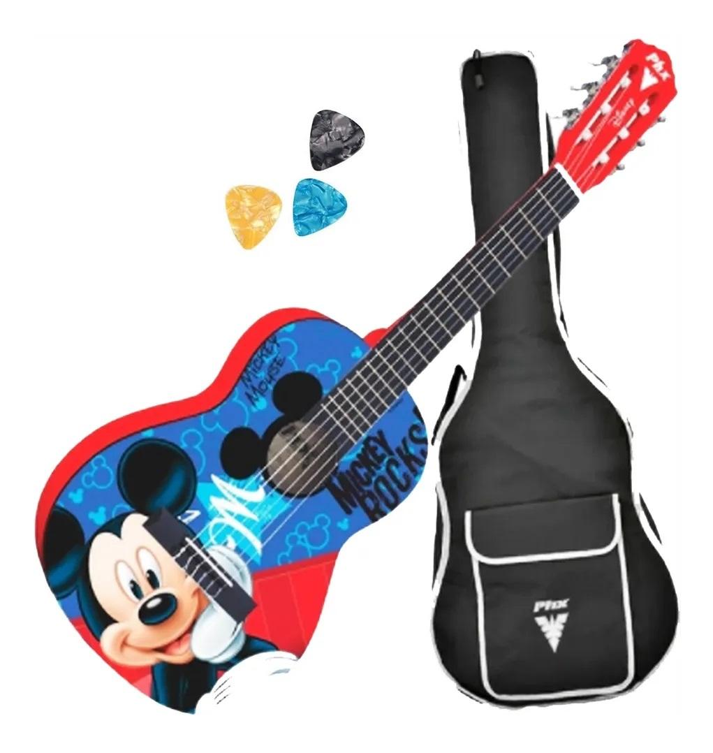 Violão De Nylon Phx Mickey Rocks Vid-mr1 Com Capa E Palhetas
