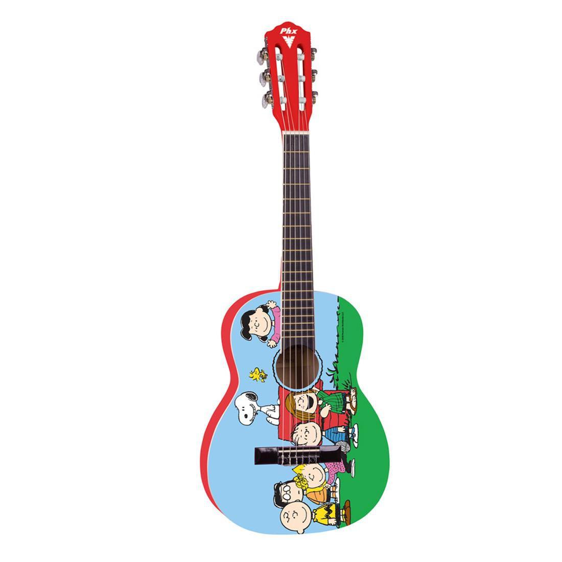 Violão Infantil Phx Peanuts Vis-a1 Snoopy Amigos + Capa