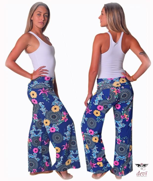 Calça Pantalona Amar Estampa mandala Azul