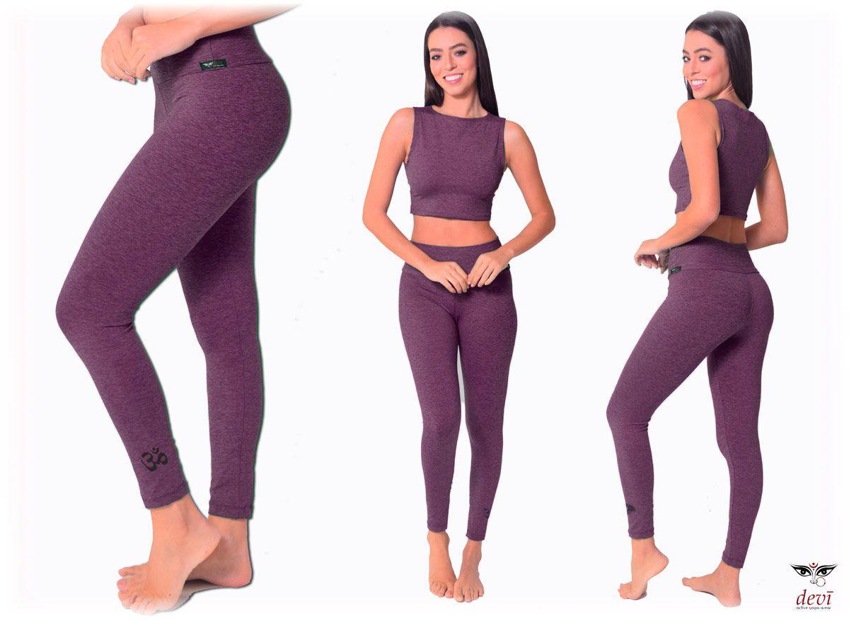 Legging Yoga Mescla Roxo com OM